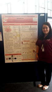 PhD student and volunteer Eva Caamaño Gutierrez with her poster