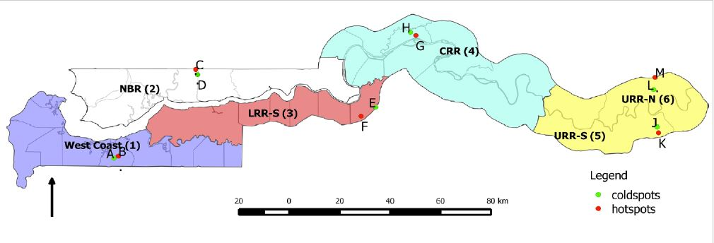 Figure 2. Map of sampling sites in The Gambia. The six geographic regions are numbered: 1 west coast, 2 LRR-N (lower river region-north), 3 LRR-S (lower river region-south), 4 CRR-N (central river region-north), 5/6 URR-S/N (upper river region-north/south). The dots indicate the locations of sampled villages: low malaria prevalence (green) and high malaria prevalence (red). The villages are: A Bessi, B Ndemban Tenda, C Chogen Wellingara, D Yallal Ba, E Sinchu Njengudi, F Dongoro Ba, G Sare Seedy, H Ngedden, K Madina Samako, J Njaiyel, L Sare Wuro, M Gunjur Koto. Figure from Opondo et al. 2016.