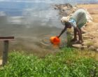 Collecting water from the lake