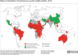 Map of endemic countries endemic for trachoma