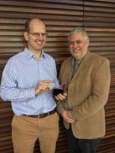 Dr Matthew Berriman recieving the 2017 CA Wright Medal for his extensive contributions in the field of parasite genomics.