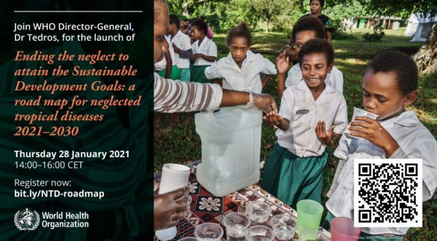 WHO Invitation to join the launch of the new road map. Shows children receiving treatment for NTDs.