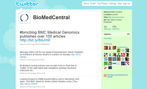 BioMed Central Twitter channel screenshot