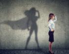 Brave woman posing as super hero