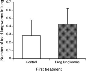 Effect of prior exposure to frog lungworms on the subsequent establishment of the cane toad lungworm species in the lungs of cane toad metamorphs. Source: Nelson et al., 2015