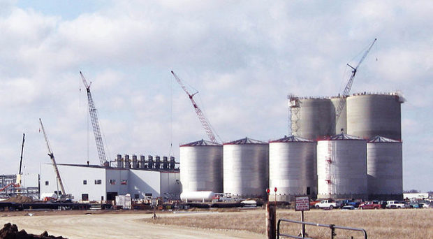An ethanol fuel plant under construction