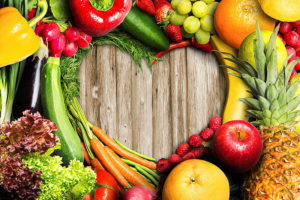 Fruit and vegetables arranged in a heart shape