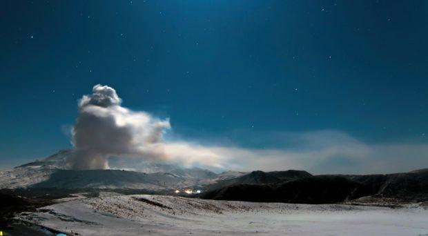 Mount Aso in Japan erupting at night